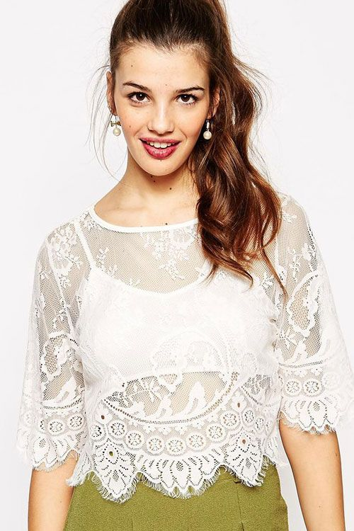 White Two-piece BOHO Lace Crop Top