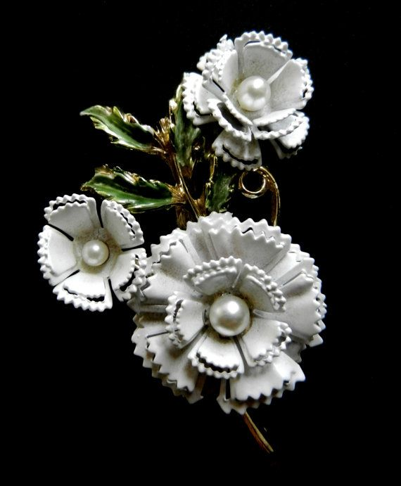Antique Brooch 1950  Carnation flower exquisite by RAKcreations