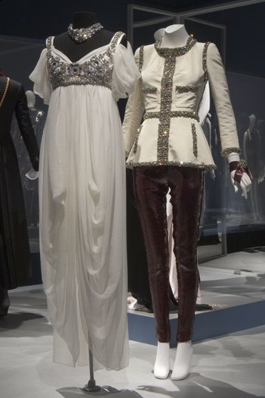 "Left: Alexander McQueen ""Empire"" style dress in off white silk chiffon gauze and rhinestones, Fall 2008. Right: Evening jacket by Karl Lagerfeld for Chanel in ivory silk faille with embroidered stone trim and fuchsia sequined leggings by Alexander McQueen. Daphne Guinness - Exhibition: Alexander Mcqueen, Clothes Style, Fall 2008, Exhibition, Dress Minus, Fall Winter"