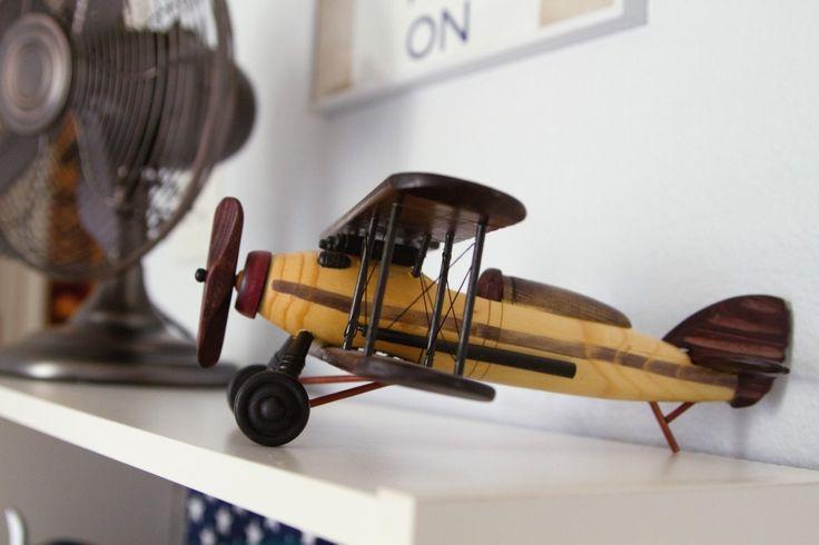 Project Nursery - White Vintage Boy Airplane Nursery Airplane