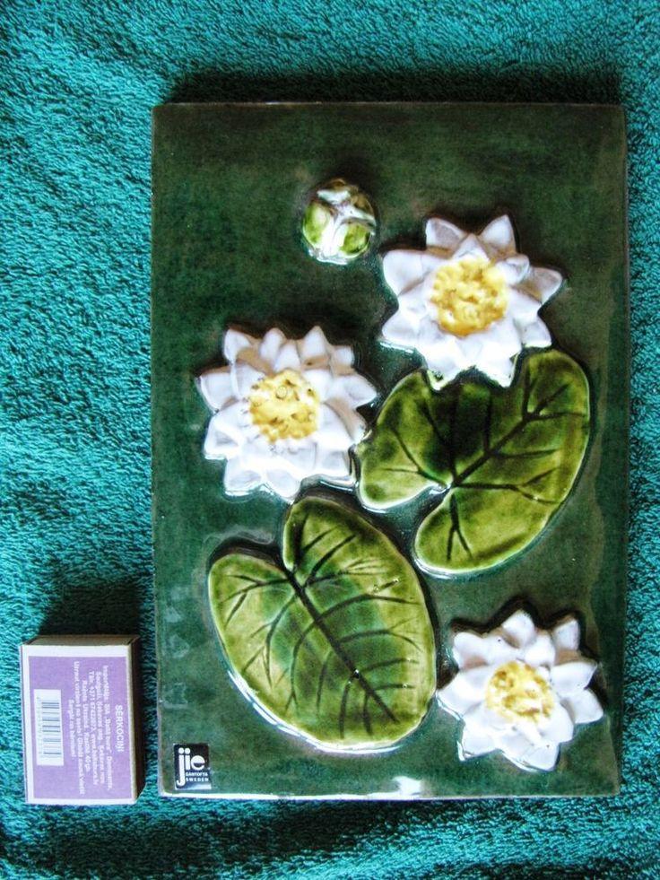 Vintage Wall plaque tile JIE Gantofta Keramik Sweden Lily flowers N-791 Art.K