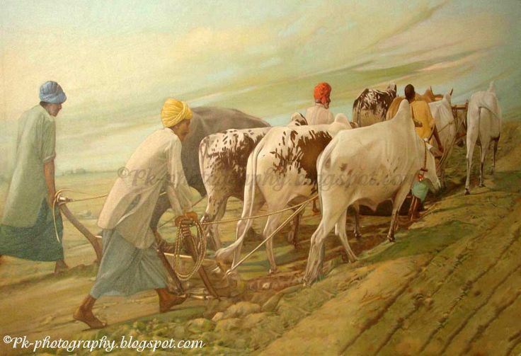 ploughing with oxen painting people at work pinterest