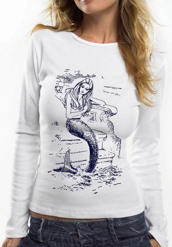 mermaid shirt - vintage design MERMAID - long sleeve white cotton women's t-shirt on Etsy, $29.81 CAD