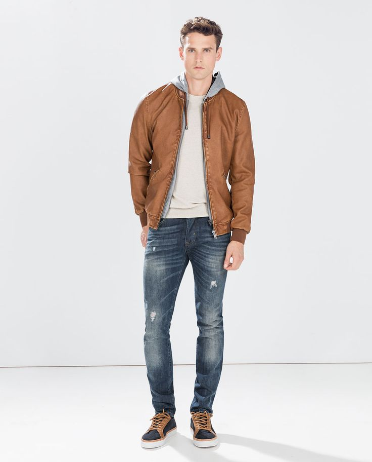Image 1 of FAUX LEATHER HOODED JACKET from Zara