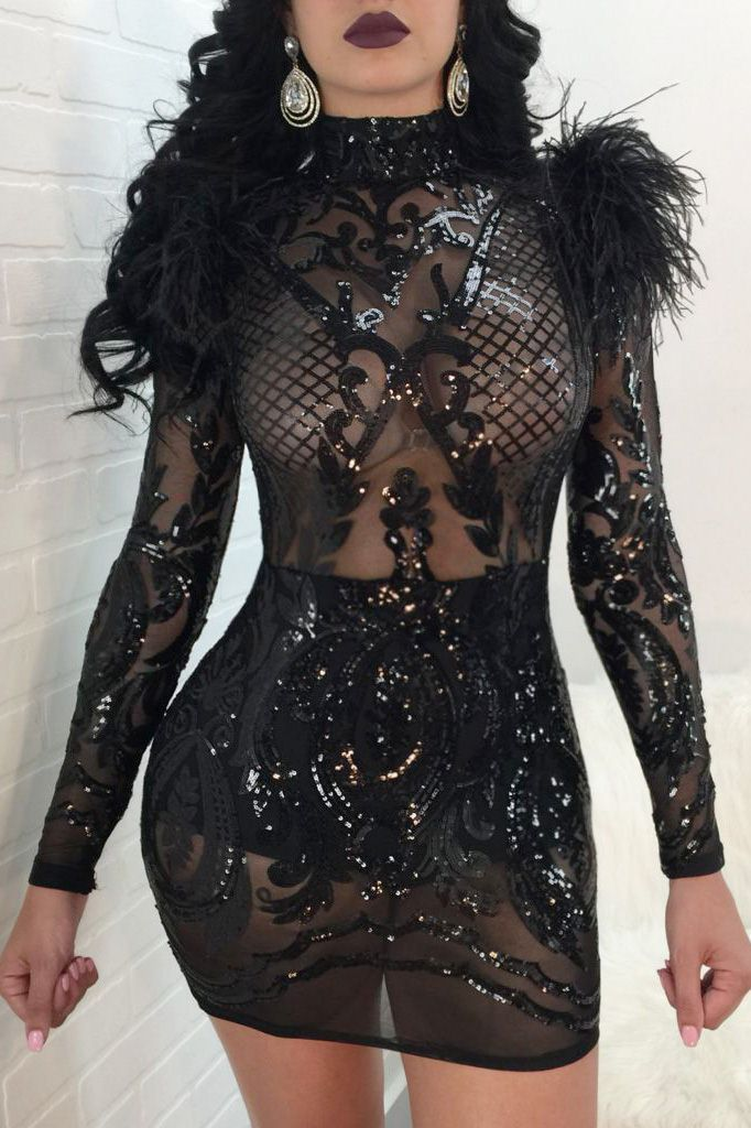 7a2d6c7a0b0f Black Sparkle Sequined Feather Embellished See Through Sexy Bodycon ...