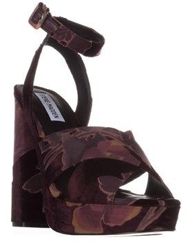 Steve Madden Jodi Platform Sandals, Burgundy Velvet.