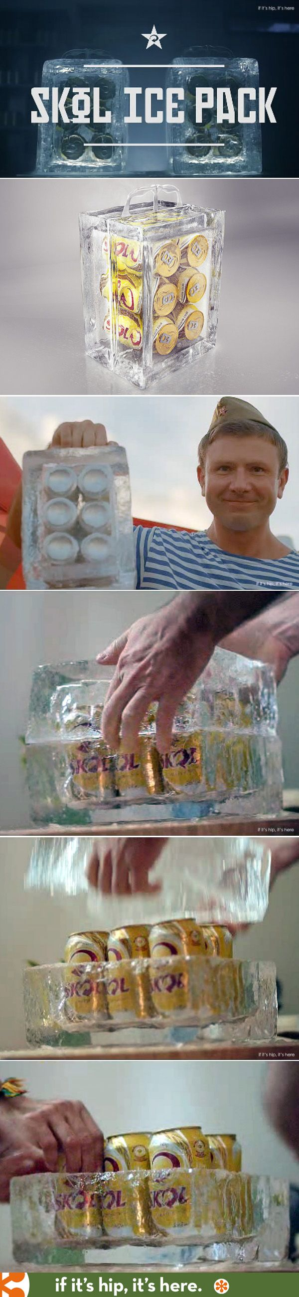 The Skol Ice Pack is a six pack of beer in a portable frozen block of ice (without freezing the beer). The unique packaging is part of a marketing effort to welcome foreigners to the World Cup in Brazil.