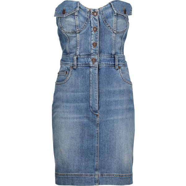 Moschino - Pleated Denim Mini Dress (12.965 UYU) ❤ liked on Polyvore featuring dresses, mid denim, shirred dress, short dresses, blue dress, denim dress and blue denim dress