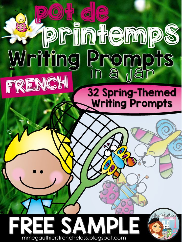 Mme Gauthier's French Class: French Spring FREEBIE | A FREE sample from my French Spring-Themed Writing Prompts in a Jar!