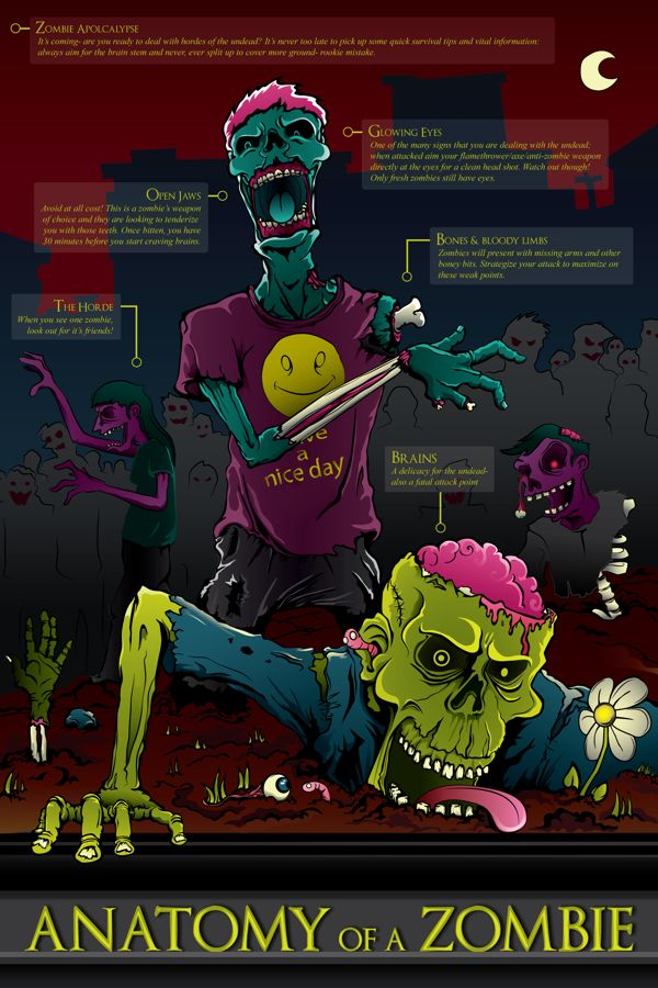 Zombie Infographic Poster by Ali Castro, via Behance