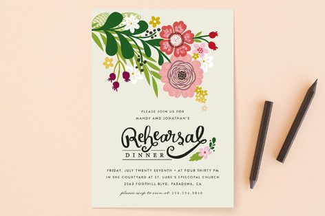 """""""Festive Florals"""" - Floral & Botanical Rehearsal Dinner Invitations in Cream by Alethea and Ruth."""