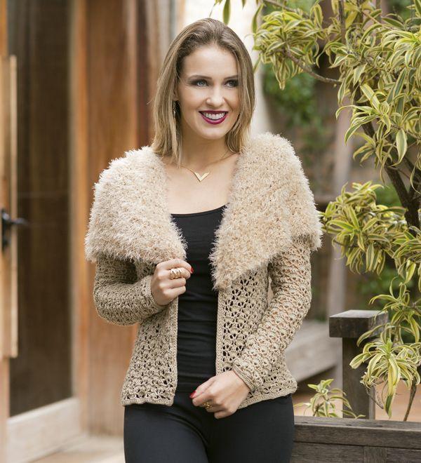 Blusa de Crochê Bege - Fio Cisne Hobby - Blog do Bazar Horizonte - Maior Armarinho Virtual do Brasil