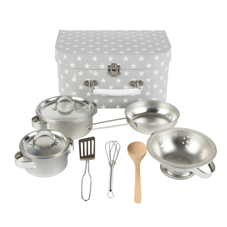 Kids Kitchen Cooking Box Set Grey Stars by Sass & Belle