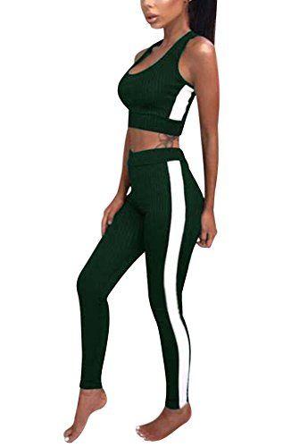 Minetom Femme Ensemble Sweat-Shirt Pantalon Jogging Survêtement 2pcs  imprimé sportwear A Vert FR 34 8f75c1890d9