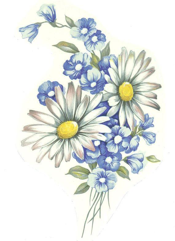 4 White Daisy Blue Wildflower Bouquet 6 tall Waterslide Ceramic Decals