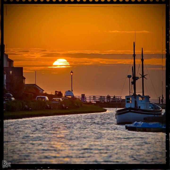 Fabulous Bude sunset looking along the canal towards the sea lock by Pops c/o Love Bude. North Cornwall, UK.