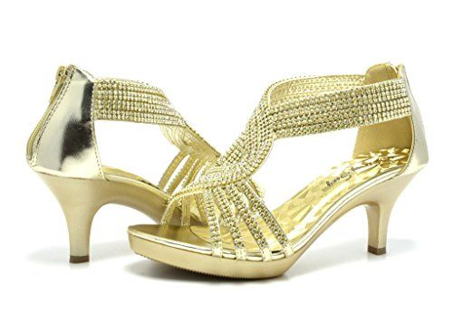 SASSY SEXY TINA-3 Women's Elegant Evening Dance Rhinestones Classic Kitten Heel Sandals Shoes New DREAM PAIRS: