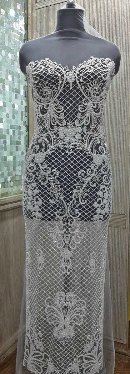 Hand Beaded and Embroidered Full WEDDING DRESS Panel - TATIANA