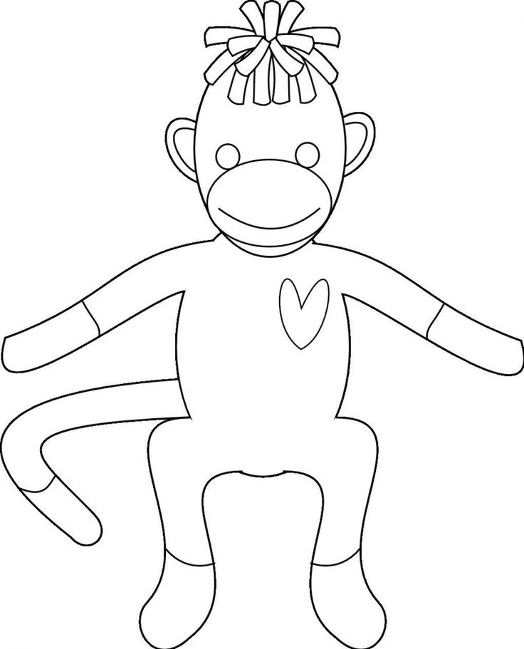 Sock Monkey Coloring Pages for