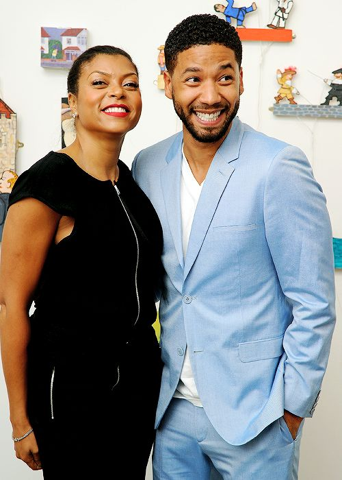 Taraji P. Henson and Jussie Smollett attend the Summer Sizzle BVI 2015 launch party at Ricco Maresca Gallery on April 8, 2015 in New York City.
