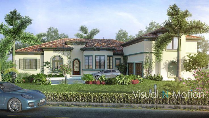 villa green landscape palm