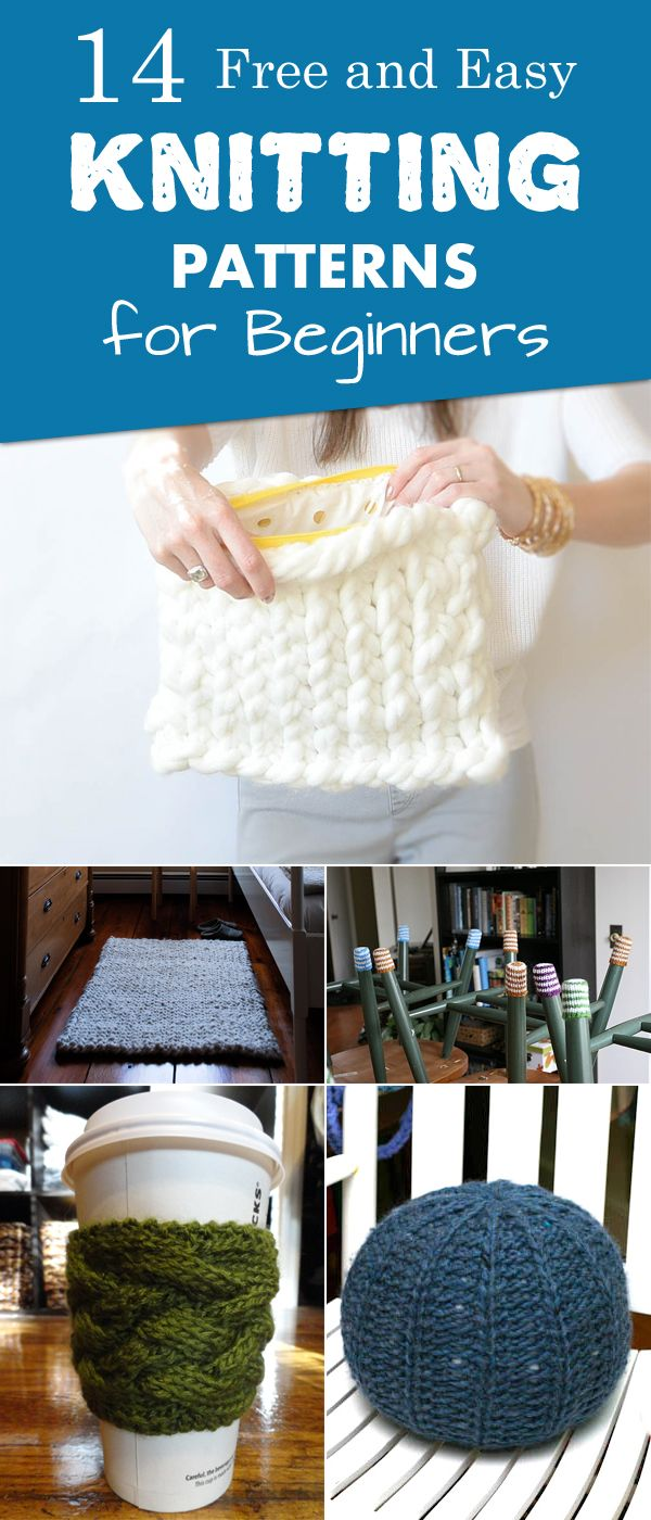 "diytotry: ""  14 Free and Easy Knitting Patterns for Beginners → ""                                                                                                                                                                                 More"
