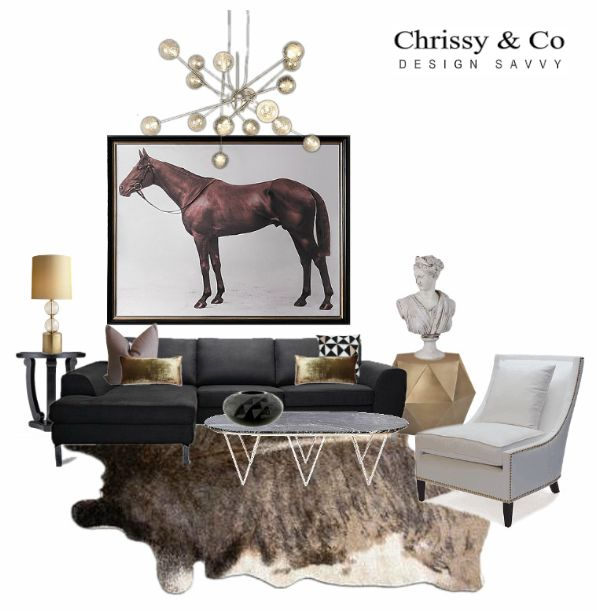 Contemporary Living Room Client Conceptual: Design By Chrissy & Co Design Savvy. Large horse painting, black chaise sofa and marble occasional table.