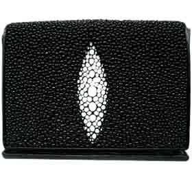 Stingray Leather Men's Tri-Fold Wallet in Black Nina Carole Designs. $65.00. Save 13%!
