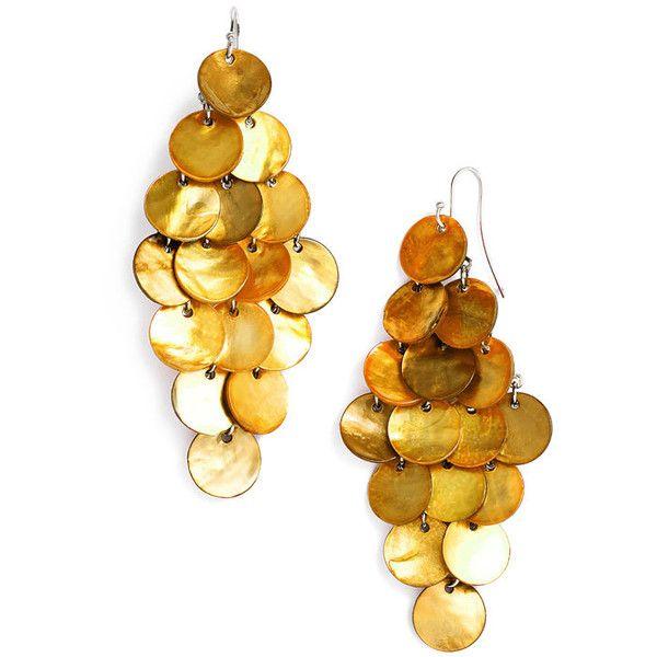 Tasha Shell Chandelier Earrings Orange One Size ($16) ❤ liked on Polyvore featuring jewelry, earrings, accessories, women, sea shell earrings, sea shell jewellery, seashell jewelry, tasha jewelry and chandelier jewelry