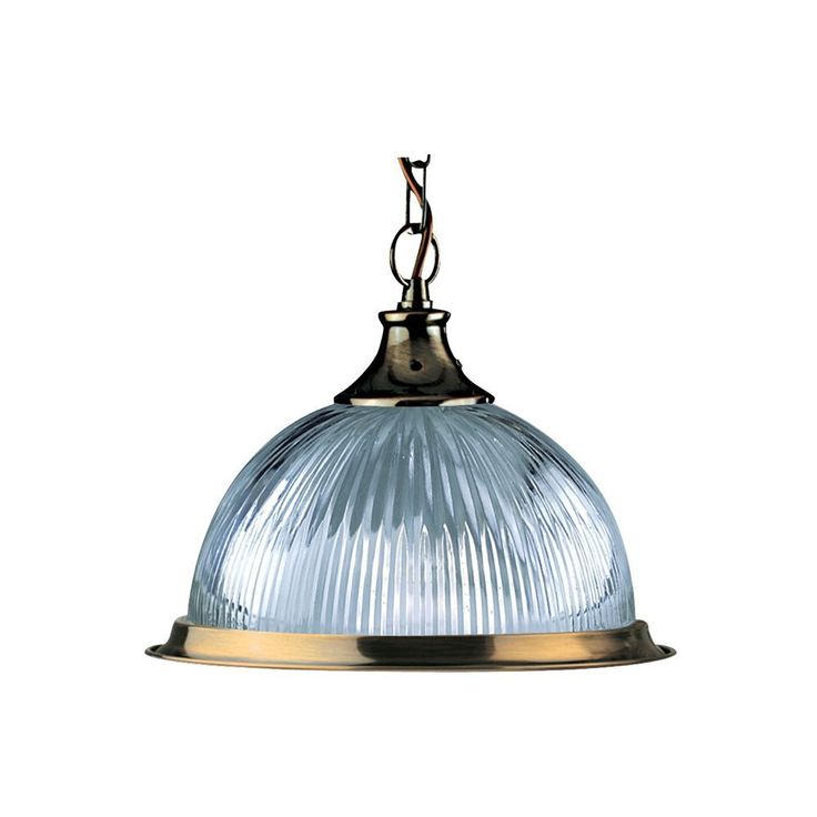 Antique Brass American Diner Pendant Light With Clear Ribbed Glass Dome
