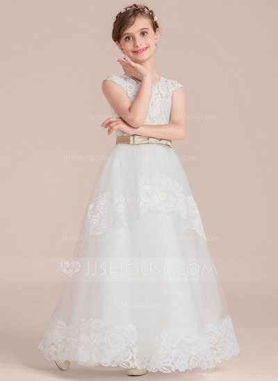 4eb2cf8953f  US  61.59  Ball Gown Floor-length Flower Girl Dress - Satin Tulle Lace  Sleeveless Scoop Neck With Sash Bow(s)