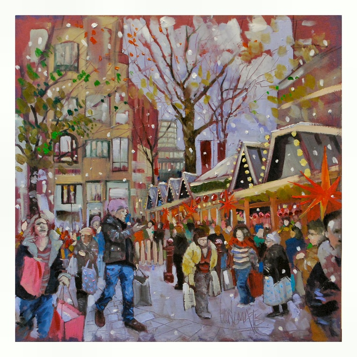 German Market, St Annes Sq, Manchester.  Oil on Board