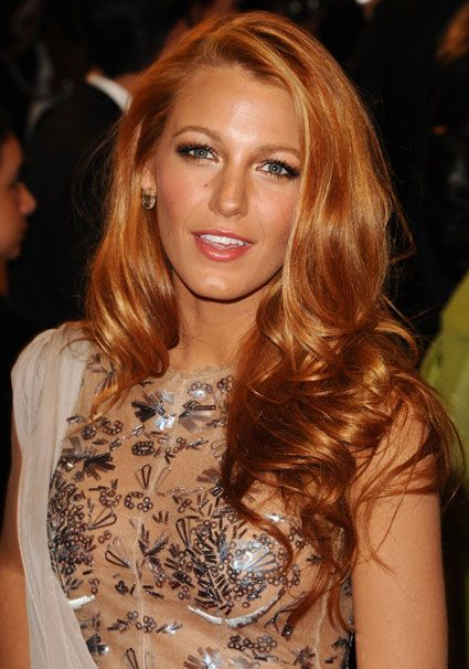 Blake Lively! Strawberry blonde hair! Love this, and I really want to do this!