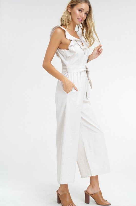 fa0e52b0a4dbf Charlie Ruffled Sleeve Pocketed Crop Jumpsuit in 2019 | Spring 19 ...