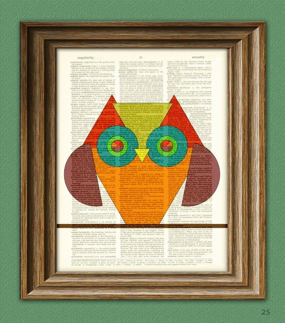 Geometric Shapes TRIANGLE OWL print over an upcycled vintage dictionary page book ar