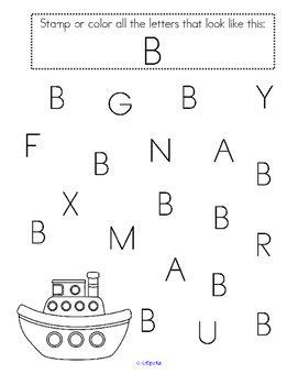 stamp the letters alphabet recognition printables for preschool pre k preschool printables. Black Bedroom Furniture Sets. Home Design Ideas