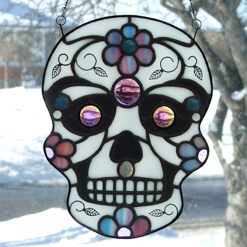 stained glass sugar skull | Sugar Rush Stained Glass | Juanita Sim's delightful…