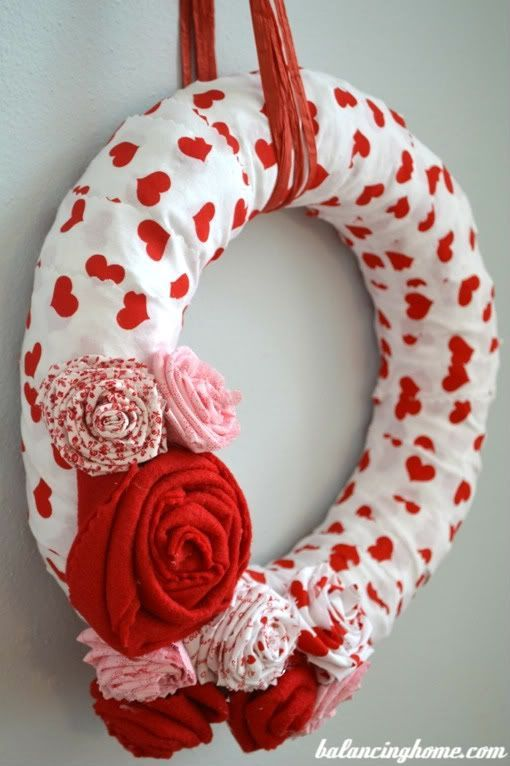 Valentine's Day wreath made from left over fabric scraps. Tutorial included for this easy to make DIY craft idea.