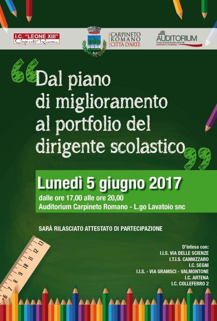 Dal Piano di miglioramento al portfolio del dirigente scolastico - Carpineto Romano