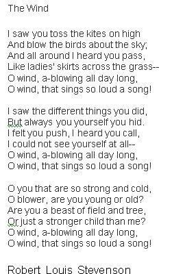 fav childhood poem, The Wind by Robert Louis Stevenson