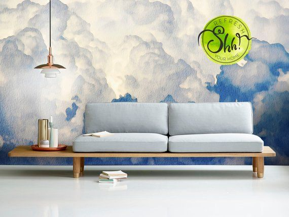 Sky Wallpaper Home Decor Watercolor Wall Decal Blue Art Murals