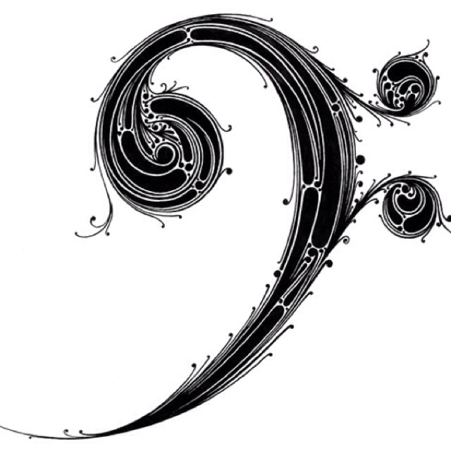 bass clef tattoo designs lotus clef and notes pinterest bass keys and cello. Black Bedroom Furniture Sets. Home Design Ideas