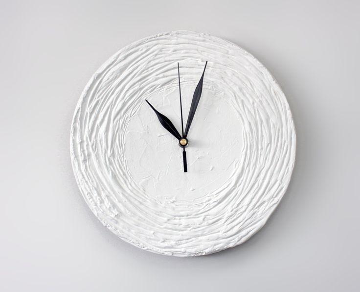 WHITE Clock Modern WALL CLOCK White wall clock wood clock white home decor (42.00 USD) by PilipArt
