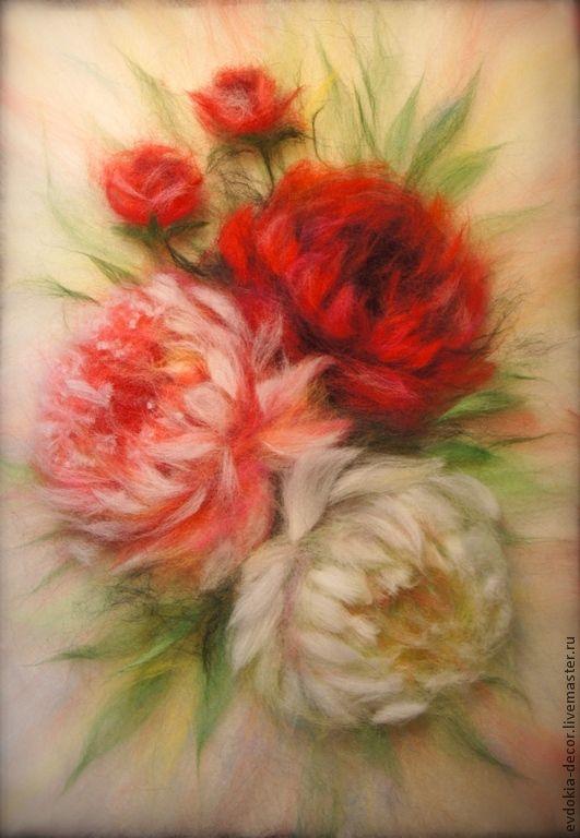 Купить Пионы. Картина из шерсти - картина, картина с цветами, картина для интерьера, пионы, картина из шерсти