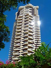 The Horizon Apartments, located in Forbes Street, Darlinghurst, is a 43-storey residential high-rise building completed in 1998. It has a distinctive scalloped facade and is finished in rendered concrete. The building was designed by Sydney architect, Harry Seidler and is controversial in that it has caused major overshadowing of the surrounding area.