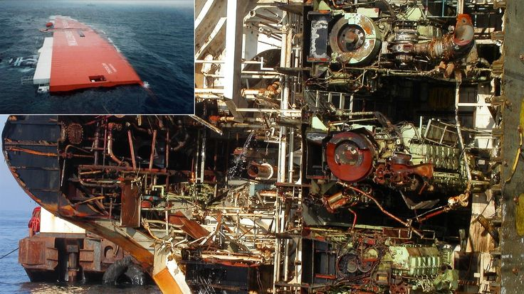 A real life cutaway: the engine room of the MV Tricolor, a Norwegian ship that sunk in the English Channel carrying carrying 3,000 automobiles.    12 Naked Machines that Look Cool Inside Image by tricolorsalvage.com (defunct) via The Atlantic and Marine Nationale/Getty Images    http://gizmodo.com/5948201/12-amazing-pictures-of-industrial-machines-guts