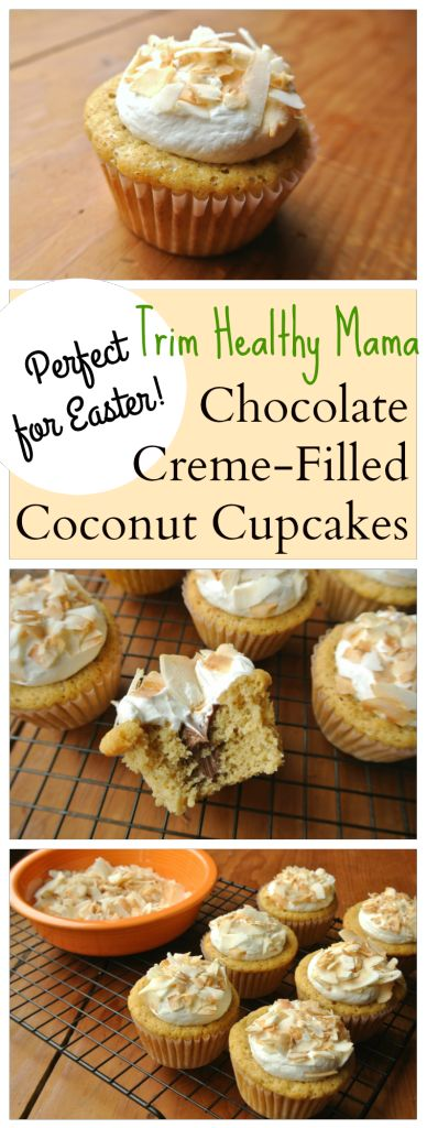 Chocolate Creme-Filled Coconut Cupcakes | Recipe | Trim healthy mamas ...