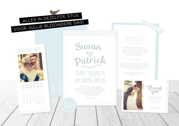 Complete trouwhuisstijl typografisch met foto save-the-date kaartje trouwkaart dagkaart bedankkaartje | charlyfine.nl