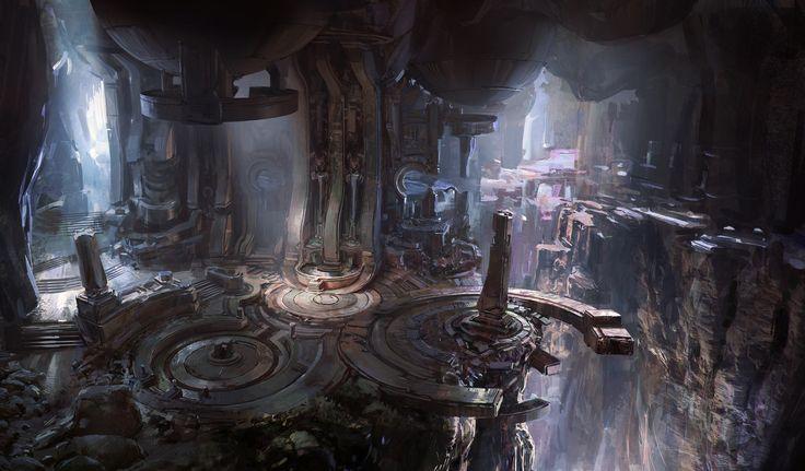 Halo 5 cave, John Wallin Liberto on ArtStation at https://www.artstation.com/artwork/0LlZV