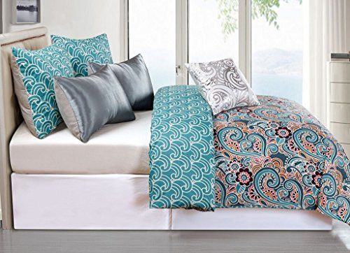 Park Avenue Collection Leanna 6Pc Reversible Oversized/Overfilled King Comforter Set /Teal
